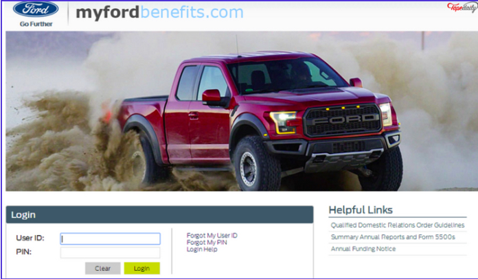 MyFordBenefits.Com Login Page