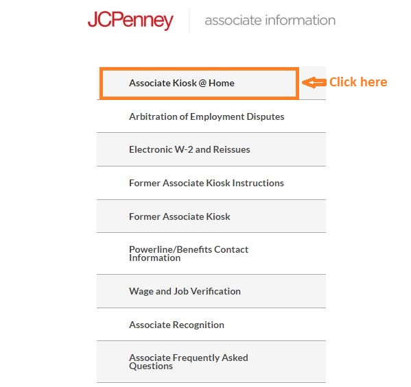 JCP Associate Kiosk Login step 1