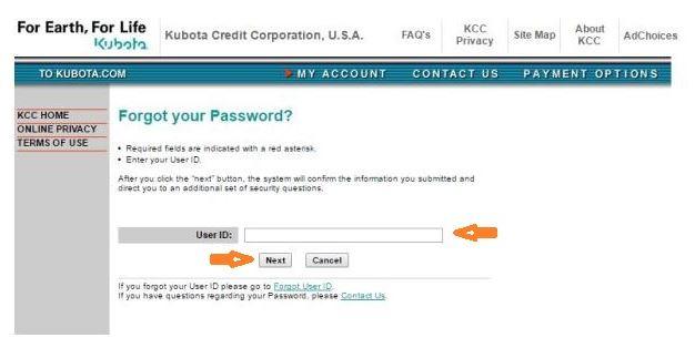 Kubota Credit USA Login forgot password step 2
