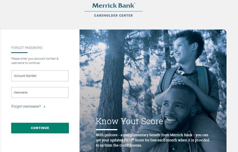 Merrick Bank Login forgot password step 2
