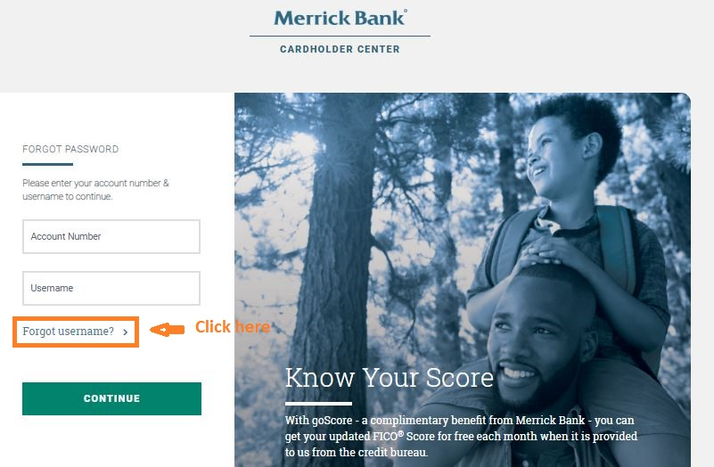 Merrick Bank Login forgot username step 1