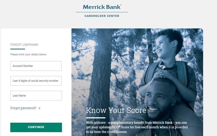 Merrick Bank Login forgot username step 2