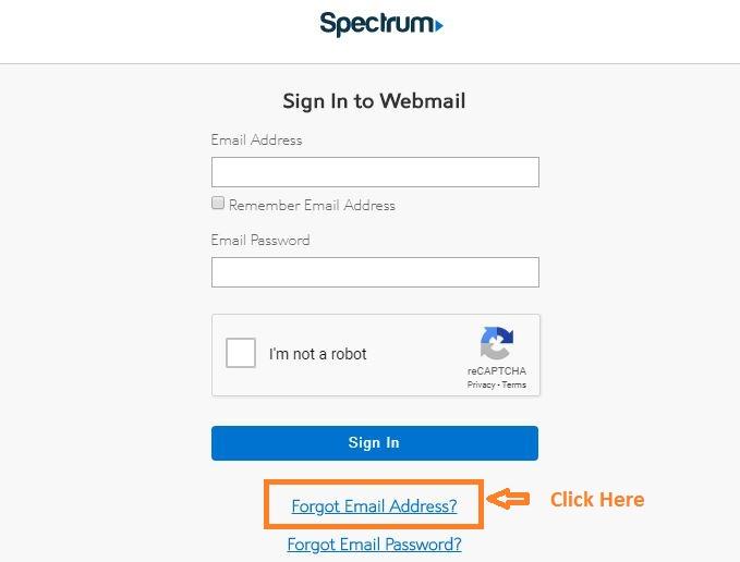 Roadrunner Email Login forgot email step 1