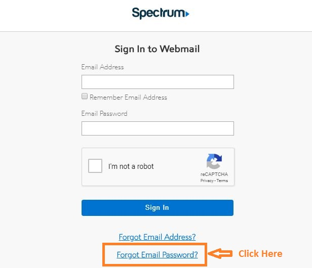 Roadrunner Webmail Account Forgot Email Password step 1