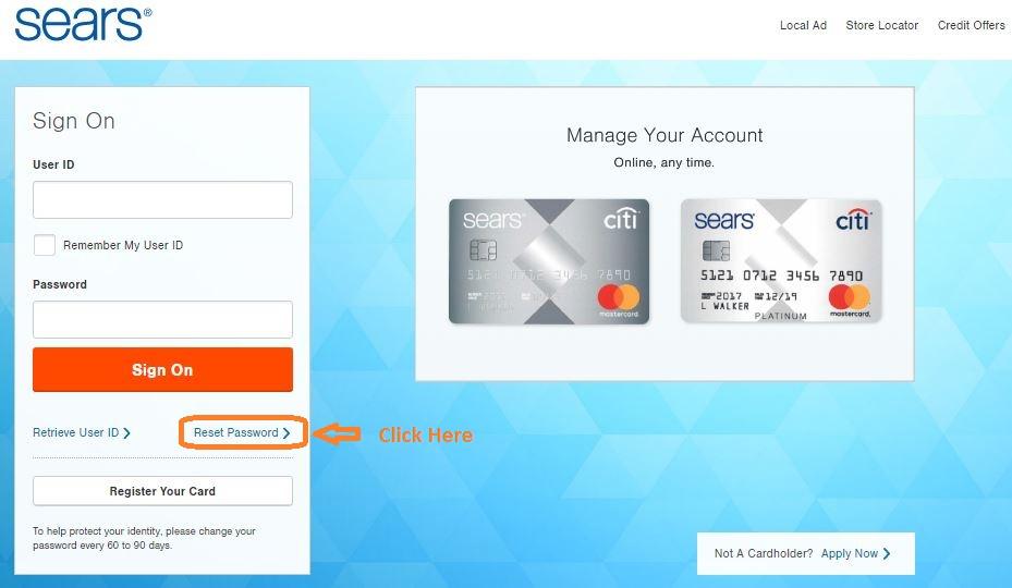 Sears Card Login forgot password step 1