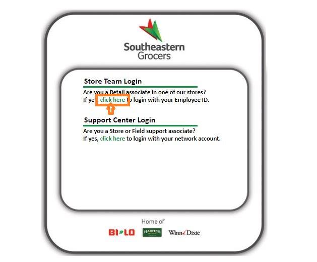 Southeastern Grocers Login step 1