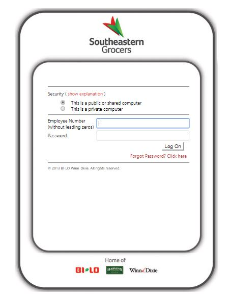 Southeastern Grocers Login step 2