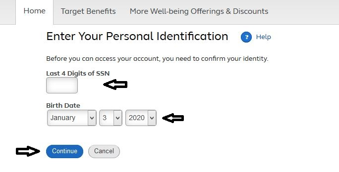 Target Pay & Benefits Registration step 2
