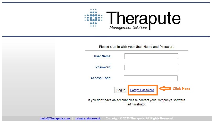 Therapute Login forgot password step 1