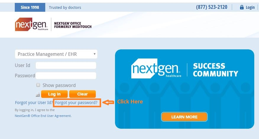 Healthfusion Login forgot password step 1