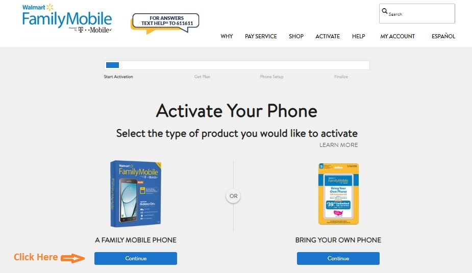 MyFamilyMobile Activation step 2