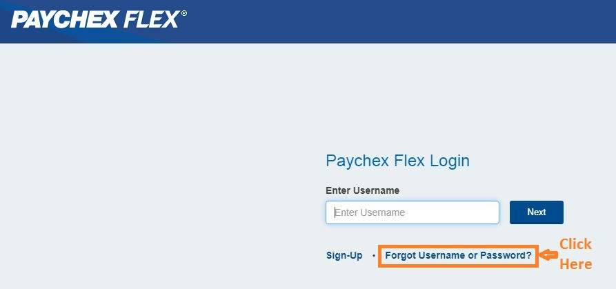 Paychex Flex Login forgot password step 1