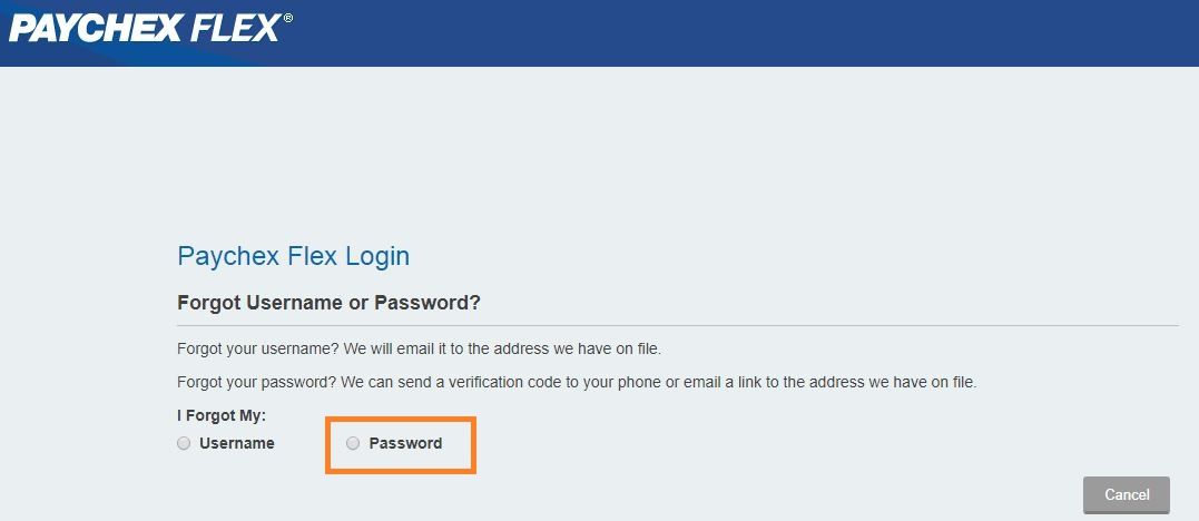 Paychex Flex Login forgot password step 2