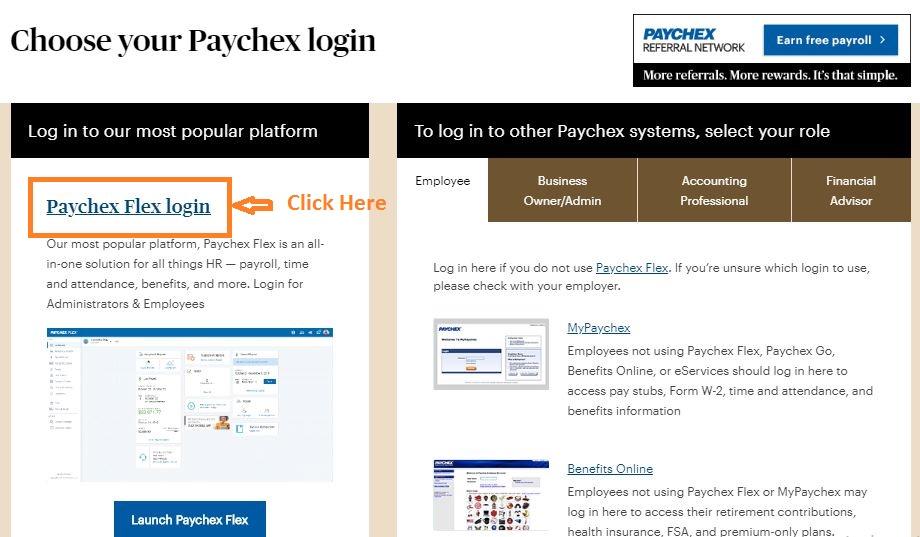 Paychex Flex Login step 2