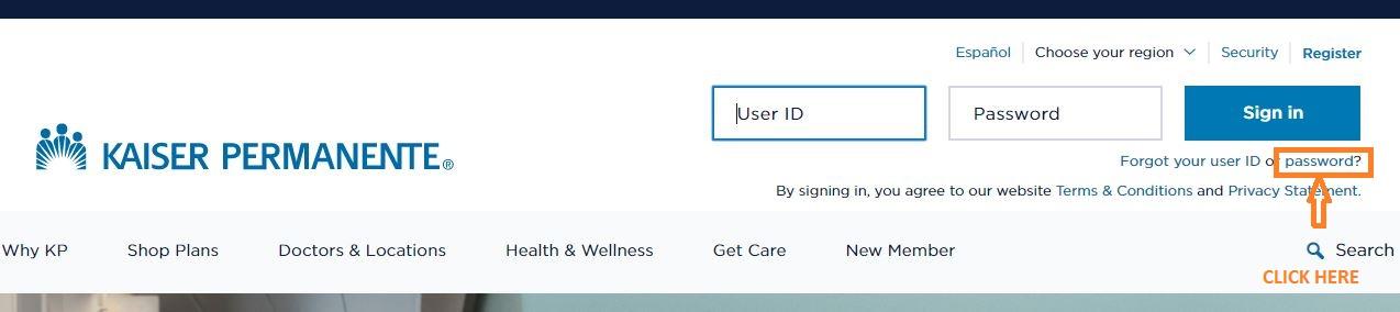 My HR Kaiser login forgot password step 1