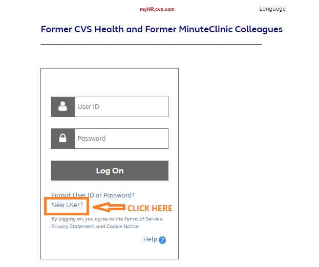 MyHR CVS – CVS Employee Registration step 1