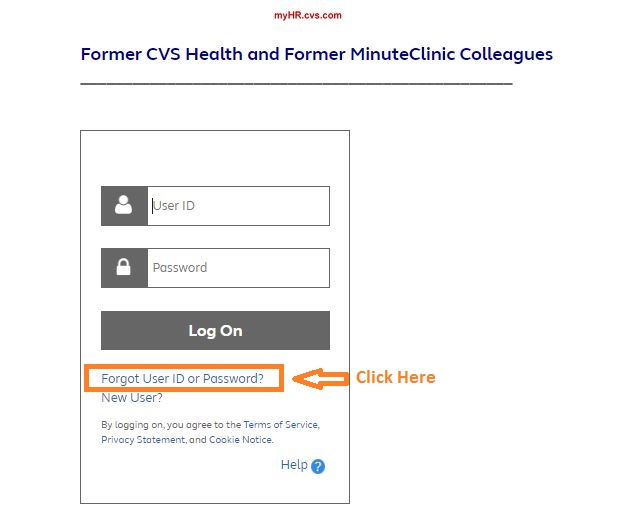 MyHR CVS Employee Login forgot password step 1